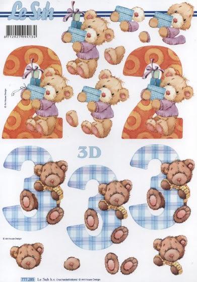 3D Bogen 2+3 Jahre - Format A4,  Spielsachen - Stofftiere,  3D Bogen,  Teddybären