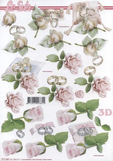 3D Bogen  - Format A4,  Ereignisse - Hochzeit,  3D Bogen,  Ringe