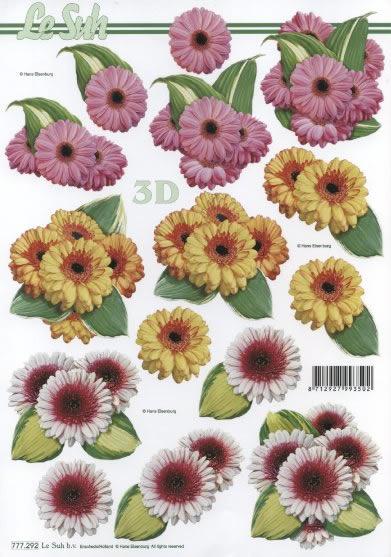 3D Bogen 3 x Blumen - Format A4,  Blumen -  Sonstige,  Le Suh,  3D Bogen,  Blumen