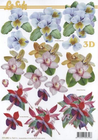 3D Bogen Format A4 Blumen,  Blumen -  Sonstige,  Le Suh,  3D Bogen,  Fuchsien