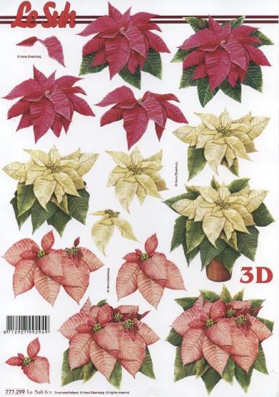 3D Bogen Weihnachtsstern Format A4,  Blumen - Weihnachtsstern,  Le Suh,  3D Bogen,  Weihnachtsstern
