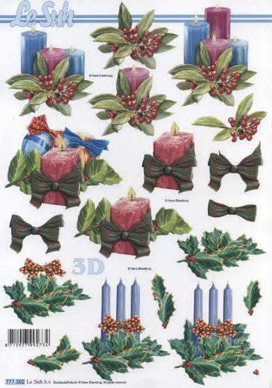 3D Bogen  - Format A4,  Le Suh,  Weihnachten - Kerzen,  3D Bogen,  Kerzen