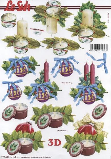 3D Bogen  - Format A4,  Weihnachten - Kerzen,  Le Suh,  3D Bogen,  Kerzen