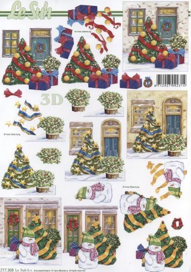 3D Bogen  - Format A4, Winter - Schneemänner,  Weihnachten - Weihnachtsbaum,  Le Suh,  3D Bogen,  Schneemann,  Weihnachtsmann,  Geschenke