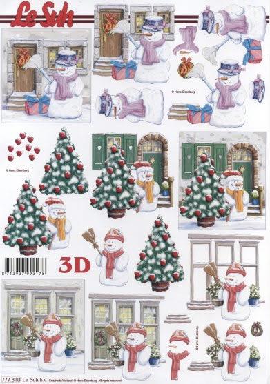 3D Bogen  - Format A4, Weihnachten - Weihnachtsbaum,  Winter - Schneemänner,  Le Suh,  3D Bogen,  Schneemann,  Weihnachtsbaum