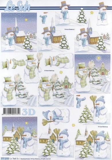 3D Bogen  - Format A4, Winter - Schnee,  Winter - Schneemänner,  Le Suh,  3D Bogen,  Schneemann,  Schnee