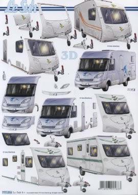 3D Bogen  - Format A4,  3D Bogen,  Wohnwagen,  Wohnmobil