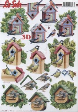 3D Bogen  - Format A4,  Tiere - Vögel,  3D Bogen,  Vogelhäuschen