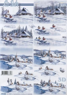 3D Bogen Winterlandschaft - Format A4,  Winter - Schnee,  3D Bogen