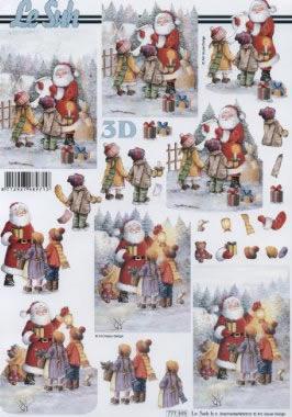 3D Bogen Weihnachtsmann +Kinder - Format A4, Weihnachten - Weihnachtsmann,  3D Bogen
