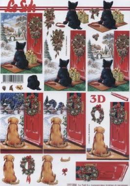3D Bogen  - Format A4, Tiere - Katzen,  Tiere - Hunde,  Le Suh,  Weihnachten,  3D Bogen,  Hunde,  Katzen