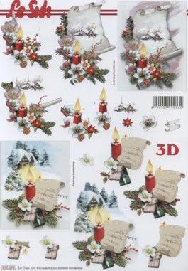 3D Bogen Format A4 - Weihnachtsdeko,  Weihnachten - Kerzen,  Le Suh,  Weihnachten,  3D Bogen,  Kerzen