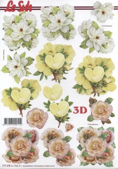 3D Bogen 3x Blumen Format A4,  Blumen -  Sonstige,  Le Suh,  Sommer,  3D Bogen,  Blumen