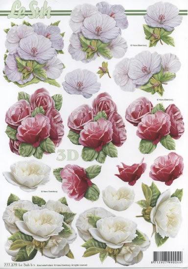 3D Bogen 3x Blumen - Format A4,  Blumen -  Sonstige,  3D Bogen,  Hibiskus