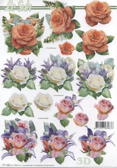 3D Bogen 3x Blumen - Format A4,  Blumen - Rosen,  3D Bogen