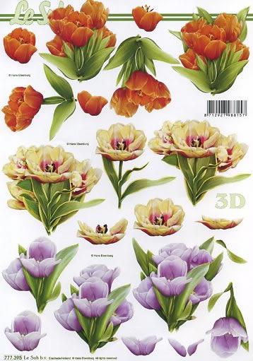 3D Bogen  - Format A4,  Blumen - Tulpen,  Le Suh,  Frühjahr,  3D Bogen,  Tulpen
