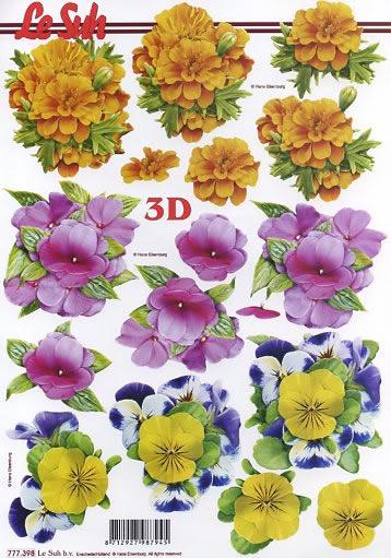 3D Bogen Stiefmütterchen - Format A4,  Le Suh,  3D Bogen,  Frühlingsblumen