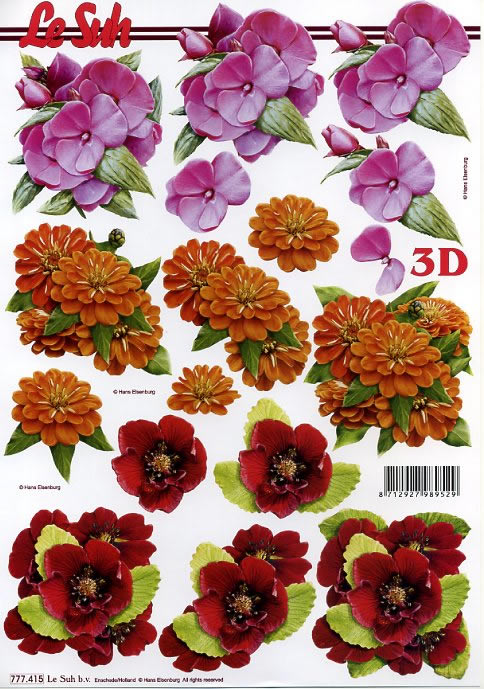 3D Bogen Blumen - Format A4,  3D Bogen