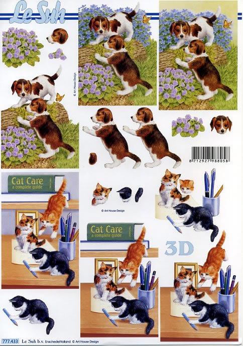 3D Bogen Katze und Hund - Format A4,  Tiere - Katzen,  3D Bogen