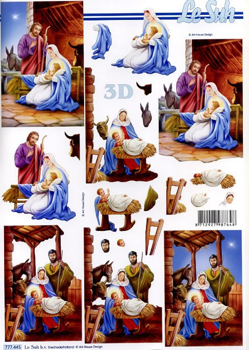3D Bogen Weihnachtskrippe - Format A4,  Menschen - Babys,  3D Bogen,  Jesus,  Maria,  Josef