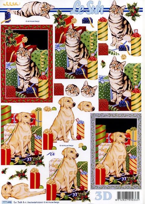 3D Bogen Weihnachten Katze/Hund - Format A4