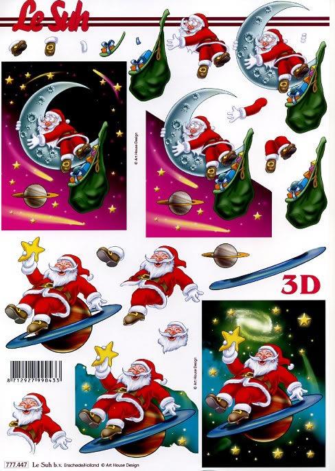 3D Bogen Weihnachtsmann auf Planet - Format A4,  3D Bogen