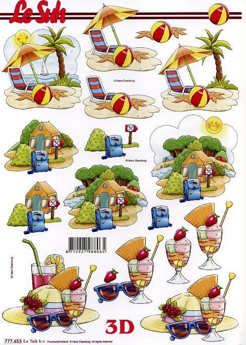 3D Bogen Strand+Zelten+Urlaub - Format A4, Regionen - Strand / Meer,  Eis,  Le Suh,  3D Bogen,  Zelt,  Camping,  Eis,  Palmen