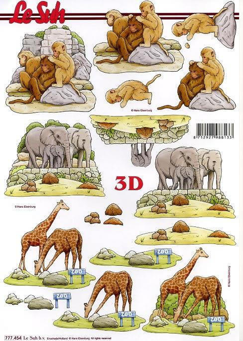 3D Bogen Elefant,Affe,Giraffe Format A4, Tiere - Giraffen,  Tiere - Elefanten,  Le Suh,  3D Bogen,  Zoo,  Giraffen,  Elefant,  Affen