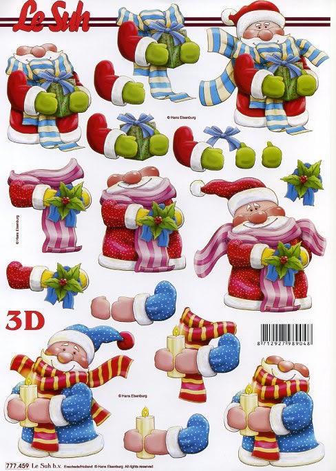 3D Bogen Weihnachtsmann - Format A4,  Weihnachten - Weihnachtsmann,  3D Bogen