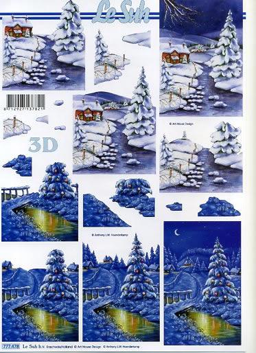 3D Bogen Winterlandschaft blau - Format A4,  Le Suh,  3D Bogen,  Winterlandschaft