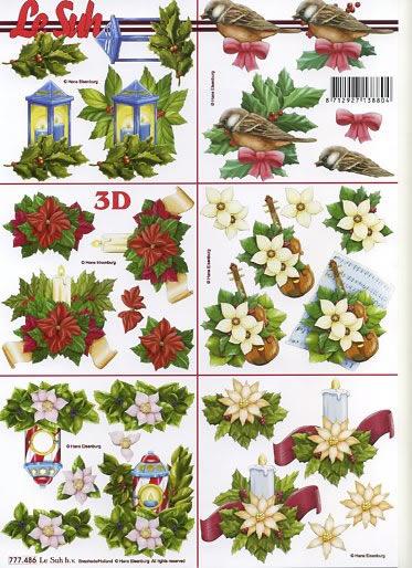 3D Bogen nach Jahreszeiten,  Blumen - Weihnachtsstern,  Le Suh,  Weihnachten,  3D Bogen,  Kerzen,  Weihnachtsstern