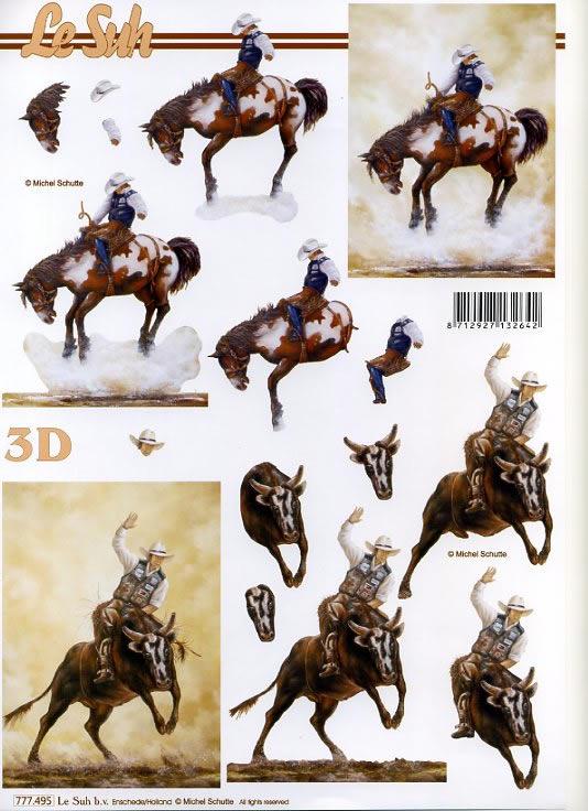 3D Bogen Cowboy´s - Format A4,  Sport - Reiten,  3D Bogen,  Pferde,  Cowboy