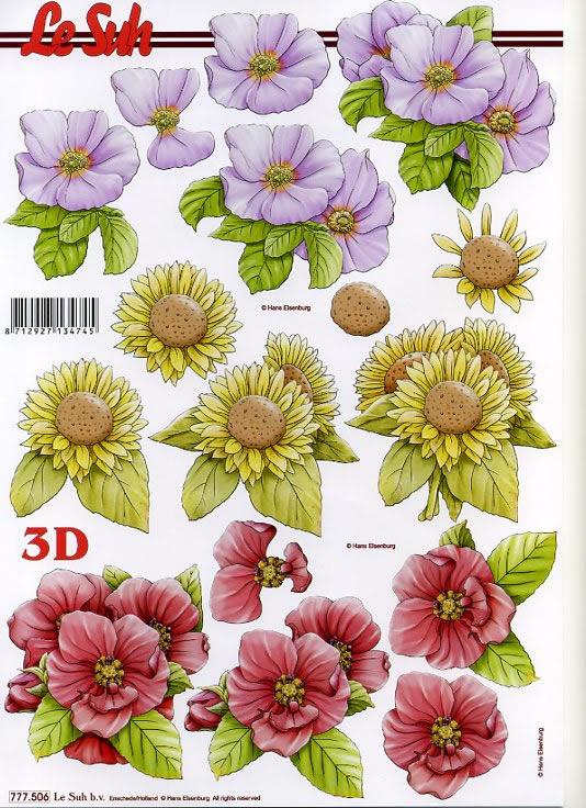 3D Bogen 3x Blumen gelb+lila+rosa - Format A4,  Le Suh,  3D Bogen,  Blumen