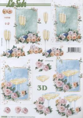 3D Bogen Champagner-Gläser - Format A4,  Getränke - Wein / Sekt,  Le Suh,  3D Bogen,  Sekt,  Rosen,  Hochzeit