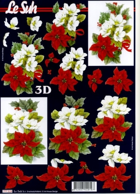 3D Bogen Weihnachtsstern - Format A4,  Blumen - Weihnachtsstern,  Le Suh,  3D Bogen