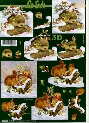 3D Bogen Igel im Schnee - Format A4,  Tiere - Eichhörnchen,  Le Suh,  3D Bogen