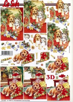 3D Bogen Weihnachten Hund/Katze - Format A4,  Tiere - Hunde,  Le Suh,  3D Bogen,  Geschenke