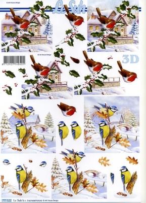 3D Bogen / Le Suh 777-.....,  Tiere - Vögel,  Le Suh,  3D Bogen,  Winterlandschaft,  Häuser