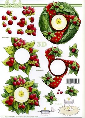 3D Bogen Weihnachten - Format A4,  Weihnachten - Adventskranz,  Le Suh,  3D Bogen