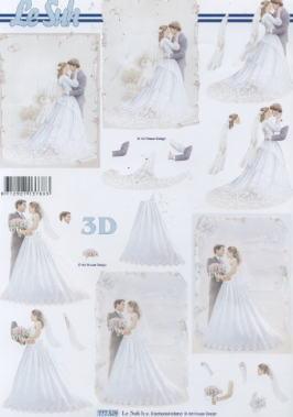3D Bogen Brautpaar - Format A4,  Ereignisse - Hochzeit,  Le Suh,  3D Bogen,  Liebe,  Hochzeit