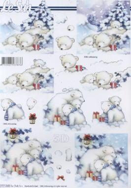 3D Bogen Bären im Schnee - Format A4,  Tiere -  Sonstige,  Le Suh,  3D Bogen,  Eisbären,  Geschenke