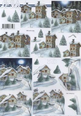 3D Bogen Winterlandschaft - Format A4,  Winter - Schnee,  Le Suh,  3D Bogen,  Häuser,  Schnee
