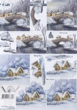 3D Bogen Winterlandschaft+Brücke - Format A4,  Winter - Schnee,  Le Suh,  3D Bogen,  Häuser,  Schnee,  Brücke