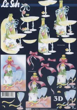 3D Bogen Sekt+Gläser - Format A4, Getränke - Wein / Sekt,  Ereignisse - Feier,  Le Suh,  3D Bogen,  Wein,  Party