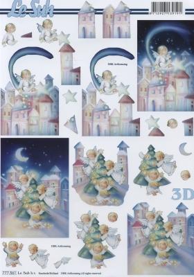 3D Bogen Format A4,  Weihnachten - Engel,  Le Suh,  Weihnachten,  3D Bogen,  Engel,  Stadt