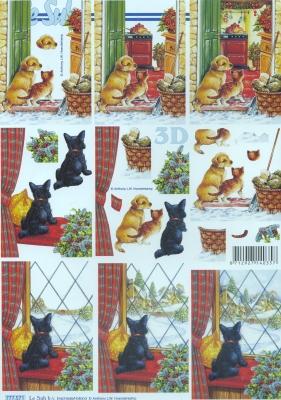 3D Bogen / alle anderen, Tiere - Katzen,  Tiere - Hunde,  Le Suh,  Winter,  3D Bogen,  Hunde,  Katzen