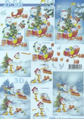 3D Bogen Format A4, Winter - Schlitten,  Winter - Schneemänner,  Le Suh,  Weihnachten,  3D Bogen,  Schneemänner,  Schlitten