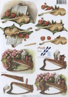 3D Bogen Geige+Harfe+Blumen - Format A4, Sonstiges - Musik,  Blumen - Rosen,  Le Suh,  3D Bogen,  Rosen,  Musik,  Geige