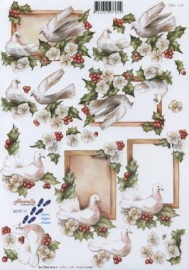 3D Bogen Weihnachts Tauben - Format A4
