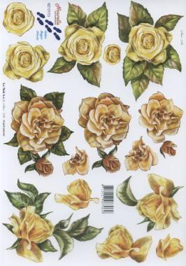 3D Bogen 3x Rosen gelb - Format A4